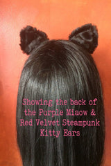 showing the back of the purple miaow amethyst satin, faux black fur, steampunk cogs, handcrafted bespoke steampunk kitty ears made in Western Australia, exclusive stockist is Gallery Serpentine