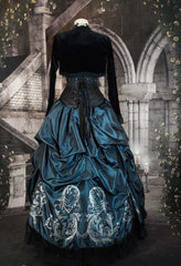 back view of the teal Baroque Scrolls sample skirt set with silver printing