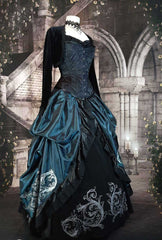 Sample Australian teal satin & black velvet Baroque Scrolls victorian skirt set