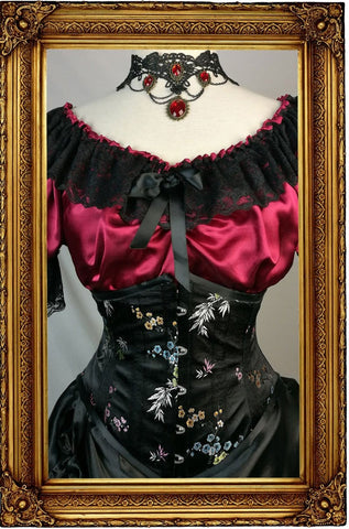 The 'Lilly' Underbust Victorian Corset - Black Oriental Brocade