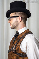 gentleman victorian wild west male model wearing steampunk flip top sunglasses