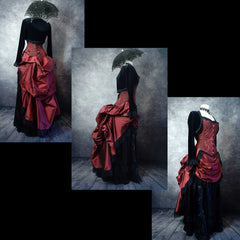 3 photo layup showing the back, side and side front views of the deluxe length victorian bustle skirt in garnet taffeta worn over a black satin under skirt and bustle cage