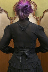 Black Clockwork Butterfly blouse showing lacing feature at back