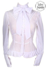 White gothic lolita victorian blouse size 6, 8 on sale