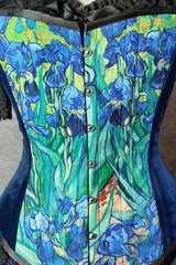van gogh irises print on an over bust corset made in Australia