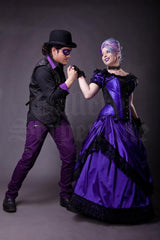 gothic Joker & purple princess in the Amethyst Turn of the Century Corset steel boned, purple and black baroque patterned jacquard, made in Australia by Gallery Serpentine