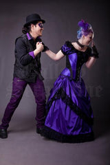 Purple Joker character and gothic model wearing the Amethyst Turn of the Century Corset steel boned, purple and black baroque patterned jacquard, made in Australia by Gallery Serpentine