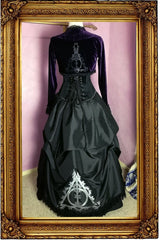 full view of the back of the victorian fantasy corset gown made for Gallery Serpentine inspired by the Deathly Hallows