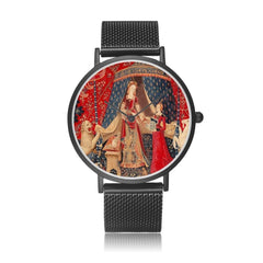 front view of the black the Lady and the Unicorn tapestry artwork now on a quality citizen movement watch