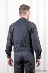 back of the gothic western style vest for men showing slider and quality wool fabric back