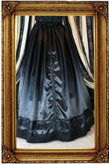 back view of the Victorian Ravenclaw inspired satin skirt and hoop skirt made in Australia for Gallery Serpentine