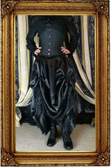 Seraphina neo-victorian multi sized black satin skirt with height adjustability shown worn without a hoop underneath