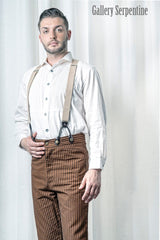 Authentic tan Outlaw trousers for men suitable for steampunk, Westworld cosplay or for hipster weddings.