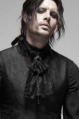 gothic victorian male model wearing the gothic baroque cravat made from black lace with a large faceted centre jewel in black