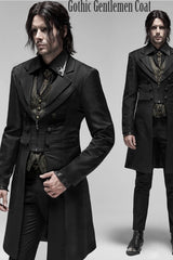 side front view & full front view of the gothic gentlemen coat 3/4 length spliced panels men's coat with sharp styling, double lapels, 2 part sleeve