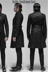 side & back view of the gothic gentlemen coat 3/4 length spliced panels men's coat with sharp styling, double lapels, 2 part sleeve