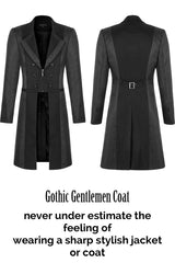 front & back view of the gothic gentlemen coat 3/4 length spliced panels men's coat with sharp styling, double lapels, 2 part sleeve