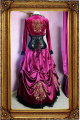 back view of the Gryffindor victorian fantasy fashion skirt set and under hoop made in Australia for cosplayers