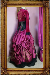 Gryffindor victorian fantasy fashion corset gown ensemble made in Australia for cosplayers