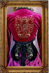 back of the black velvet steel boned high quality tight lacing victorian Gryffindor inspired corset by Gallery Serpentine