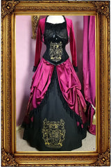 full view of gown featuring the black velvet steel boned high quality tight lacing victorian Gryffindor inspired corset by Gallery Serpentine