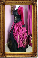 side front view showing the draping scarlet Gryffindor victorian fantasy fashion skirt