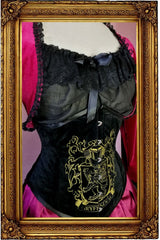 the front of the victorian fantasy fashion Bolero Shrug for House of Gryffindor cosplayers sits around the side of the bust to frame your corset