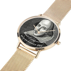 gold version with band laid out flat shakespeare printed digital watch high quality comes in 3 sizes and 3 colours