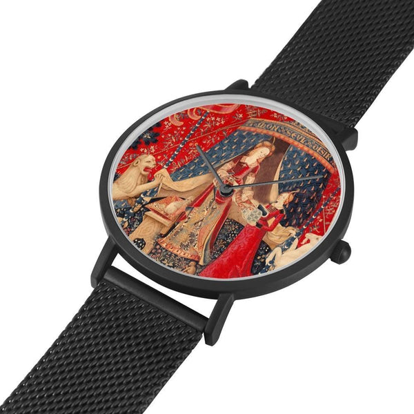 the Lady and the Unicorn tapestry artwork now on a quality citizen movement watch
