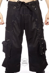 Black gothic punk rave Holster cargo shorts, Australian made by Loose Lemur