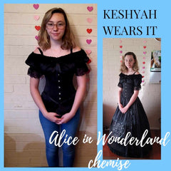 Keshyah wears the black Alice in Wonderland chemise with a Slytherin skirt set and black Lilly under bust corset from Gallery Serpentine