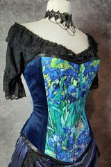 Irises by van gogh feature as an art print custom digitally printed on over bust corset made in Australia