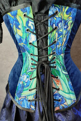 close up back view of the black corset lacing on the van gogh irises print on an over bust corset made in Australia