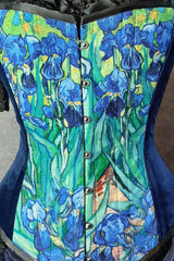 close up of the Van Gogh Irises print custom printed for this over bust corset design made in Australia