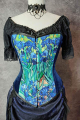 van gogh irises print on an over bust corset made in Australia shown on a dressmaker's mannequin with victorian choker