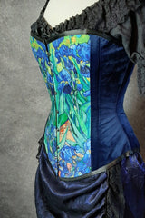 side front view of the van gogh irises print on an over bust corset made in Australia showing dark rich blue velvet side panels