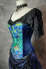 side front view of the van gogh irises print on an over bust corset made in Australia