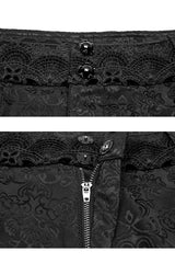waistband detail on the Jewelled Duke baroque gothic men's trousers with jewelled buttons and black baroque lace detail on the waistband