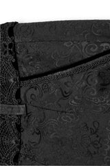 front pocket detail on the Jewelled Duke baroque gothic men's trousers with jewelled buttons and black baroque lace detail on the waistband