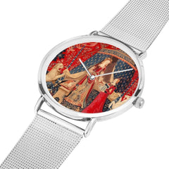 the Lady and the Unicorn tapestry artwork now on a quality citizen movement watch in silver colour