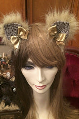 handcrafted bespoke steampunk kitty ears made in Melbourne, strong alligator clips hold to hair or wig, exclusive stockist is Gallery Serpentine