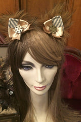 handcrafted bespoke steampunk kitty ears made in Melbourne, exclusive stockist is Gallery Serpentine, striped version with cogs