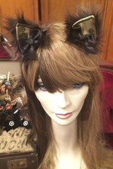 handcrafted bespoke super fluffy steampunk kitty ears made in Melbourne, exclusive stockist is Gallery Serpentine