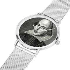 Shakespeare digital printed 8mm thick stainless steel watch, water resistant in silver colour