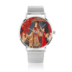 front on view of the the Lady and the Unicorn tapestry artwork now on a quality citizen movement watch