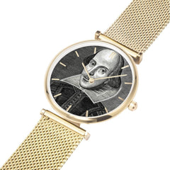 Gold band and body Shakespeare image watch with 5 minute time indicators