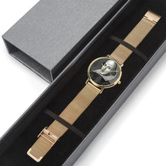 gift box laid out view of the Shakespeare digital printed 8mm thick stainless steel watch, water resistant in rose gold
