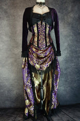 royal purple gold brocade victorian style bustle skirt with matching under bust corset trimmed in black velvet shown on a mannequin