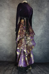 side back view showing the lacing on the corset of the Royal purple and gold victorian bustle skirt shown with a matching corset and bolero made in Australia to measurements