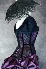 close up of the back lacing and black velvet ribbon detailing on the Pandora Amethyst over bust corset made in Australia
